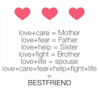 Memes, 🤖, and Brotherly Love: love- care Mother  love fear Father  love help -Sister  love- fight Brother  love- life spouse  love+care +fear+help fight+life  BESTFRIEND