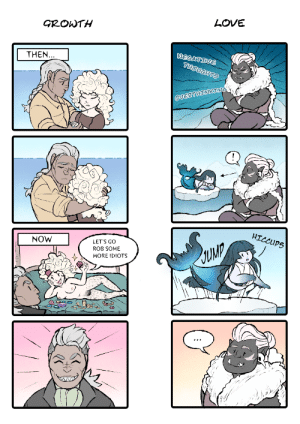 milky-lotus: It's @zartbitter-salat 's birthday today!! The most important day of the year! In celebration, I shamelessy drew little comic strips of my favourite lesbians from her story Krakenherz!!!!! The comic on the right is based on this gif.: LOVE  GROWTH  NEGATIVE  THOUGHTS  THEN...  OVERTHINKING  HICCUPS  NOW  LET'S GO  ROB SOME  MORE IDIOTS milky-lotus: It's @zartbitter-salat 's birthday today!! The most important day of the year! In celebration, I shamelessy drew little comic strips of my favourite lesbians from her story Krakenherz!!!!! The comic on the right is based on this gif.