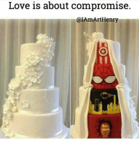 Memes, 🤖, and Henry: Love is about compromise.  @IAmArt Henry Another post I can't get enough of! 😂 TooCute TheAccuracy 💓