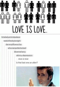 Love, Memes, and Skinny: LOVE IS LOVE  timela  watchtheskytonight:  npillow  whovian  LOC  blowmeharry:  skinny-depression:  love is love  is that last one an alien?
