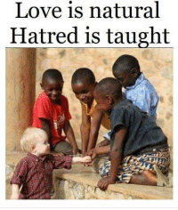Love, Preach, and Hatred: Love is natural  Hatred is taught Preach people