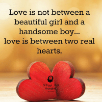 Gr8 ppl , Gr8 thoughts: Love is not between a  beautiful girl and a  handsome boy  love is between two real  hearts.  Gr8 ppl Gr8  thoughts Gr8 ppl , Gr8 thoughts