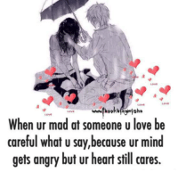 Love, Memes, and Heart: LOVE  LOVE  LOVE  Love  When ur mad at someone u love be  careful what u say,because ur mind  gets angry but ur heart still cares.