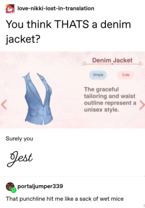 Denim Jacket: love-nikki-lost-in-translation  You think THATS a denim  jacket?  Denim Jacket  Simple  Cute  The graceful  tailoring and waist  outline represent a  unisex style  Surely you  Jest  portaljumper339  That punchline hit me like a sack of wet mice Denim Jacket