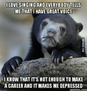 When the only thing youre good at is not enough: LOVE SINGING AND EVERYBODY TELLS  METHAT I HAVE GREAT VOICE  IKNOW THAT ITS NOT ENOUGH TO MAKE  A CAREER AND IT MAKES ME DEPRESSED  MEMEFUL.COM When the only thing youre good at is not enough