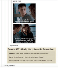 Harry Potter, Precious, and Glasses: LOVE THIS  Do you really think  there's going to be a war, Sirius?  Harry Ithink we're going to  sit and make daisy chains and  talk about our fucking feelings.  It got better.  Reason #37163 why Harry is not in Ravenclaw  Seamus: Eye of rabbit, harp string hum, turn this water into rum...  Harry: What's Seamus trying to do to that glass of water?  WHAT IN THE BLOODY FUCK DO YOU THINK HE'S TRYING TO DO?  This is precious Oh Harry.