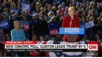 """Elizabeth Warren, Love, and Memes: Love  trumps  HER  USA  trumps  ESA  STRONGER  A TOGETHER  US  BREAKING NEWS  NEW CNN/ORC POLL: CLINTON LEADS TRUMP BY 5 CNN  Sen. Elizabeth Warren (D) Massachusetts  8:06 PM ET  AC360° In Elizabeth Warren's view, Donald J. Trump thinks """"a mouthful of Tic Tacs"""" means he can """"force himself on any woman within groping distance."""" http://cnn.it/2eMst9H"""