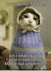 """I love Winter fashion. Am I wearing what I slept in underneath? Maybe, but who knows?"" #winter #quotes #winterquotes #wintermemes #wintersolstice #solstice Follow us on Pinterest: www.pinterest.com/yourtango: 