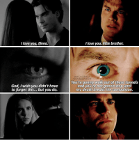 — [2x08-8x16] Damon being selfless with the two people who loves the most ❤😢: love you, Elena.  God, wish you didn't have  to forget this... but you do.  I love you, little brother.  INSTAGRAM  niandelenatvd  You're gonna walk out  of these tunnels  and you're not gonna stop until  my death breaks the compulsion. — [2x08-8x16] Damon being selfless with the two people who loves the most ❤😢