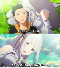 Animals, Anime, and Bored: love you, Emilia.  Sorry,  Subaru I love Remo Anime: ReZero  And thus the love triangle is complete.  Re:Zero finished just a few days ago and I figured that this is as good of an opportunity as any to share my thoughts on the anime as a whole!  Re:Zero and I had a rough start - I was bored out of my wits by the first 50 minute episode. Typical otaku gets transported into a typical fantasy world and meets your typical romantic interest. Not only that, but they also added a /time travel/ gimmick, that felt as gimmicky as you could get. I completely didn't understand the hype, and I initially dropped the anime for a few weeks.  Eventually, I came back to it when about 7 episodes were out and I binged them over a few days. I had to admit, things got much better after that first episode (and the first arc altogether). The introduction we got to the series made it easy to prejudge it, really, and the hype didn't really help. But I got into it eventually and I certainly enjoyed it.  Here I could just write a couple of paragraphs singing Re:Zero's praises, how realistic the protagonist was, how complex the plot was and how clever the solutions were, how colorful the cast of characters was, how consistently neat the animation was throughout the series, how interesting it was and how it kept so many people watching. But you already know all of that. I could also write what I personally enjoyed most, but really, what I enjoyed most is that it was a well-made anime. There isn't much more to it.  I can't pinpoint anything specific that I enjoyed most because the entirety of the anime was enjoyable for me (except for some of the earlier episodes or the slower ones). I can, however, say that I loved the amount of work and love all the people who worked on the anime poured into it. You could see a part of that in the radio reports I posted earlier this season, how passionate the seiyuu were about their work and sharing it with the fans. From how the anime was made, you can really tell the entire staff really gave it all they had.  Anime may be just promotional material for the source material, but Re:Zero shows us that if the producers CARE, they can make the anime itself worthwhile and adored by many, not simply a means to advertise the novel/manga. I think that's a good takeaway point from this series.  For now, Re:Zero is over and it may be a long time until we will get  a second season (this one was based on 8 volumes of the novel and the 9th one is JUST coming out in Japan right now), but it was a nice ride while it lasted and I'm glad I convinced myself to watch it in the end.  What did you guys think of the series in the end? What did you like and what did you dislike? Do you think Re:Zero has a chance for Anime of The Year title?  Admin Urushihara --- Summer 2016 Voting Link- http://goo.gl/przhKV Spring 2016 Leftover Voting Link- http://goo.gl/kVzaEi Character Polls- http://goo.gl/MGvyWN Soundtrack Polls: http://goo.gl/6lTJgB