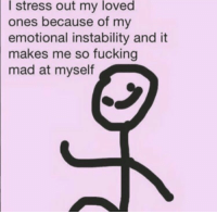 thatthursdaygirl:  hey look it's me :)): loved  I stress out my  ones because of my  emotional instability and it  makes me so fucking  mad at myself thatthursdaygirl:  hey look it's me :))