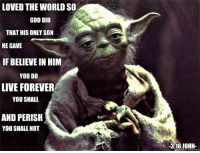 Yoda, Episcopal Church , and Shalling: LOVED THE WORLD SO  GOD DID  THAT HIS ONLY SON  HE GAVE  IF BELIEVE IN HIM  YOU DO  LIVE FOREVER  YOU SHALL  AND PERISH  YOU SHALL NOT  -316 JOHN A true classic meme and one of our favorites:  Yoda 3:16