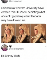 Bitch, Dank, and Harvard University: @lovemedown  Scientists at Harvard University have  created this 3D Model depicting what  ancient Egyptian queen Cleopatra  may have looked like.  @lildickbigheart  It's Britney bitch