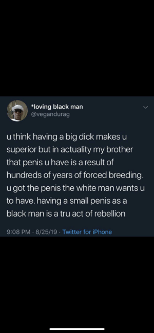 we have been lied to: *loving black man  @vegandurag  u think having a big dick makes u  superior but in actuality my brother  that penis u have is a result of  hundreds of years of forced breeding.  u got the penis the white man wants u  to have. havinga small penis as a  black man is a tru act of rebellion  9:08 PM 8/25/19 Twitter for iPhone we have been lied to