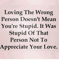 Love, Memes, and Appreciate: Loving The Wrong  Person Doesn't Mearn  You're Stupid. It Was  Stupid Of That  Person Not To  Appreciate Your Love. MSG