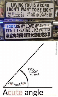 How romantic <3: LOVING YOU IS WRONG  I DON'T WANT TO BE RIGHT  VOU ARE MY LOVE MYANGLE  DON'T TREATME LIKE POTATO  OH  STOP  IT, YOU.  Acute angle How romantic <3