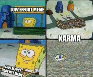 I've been waiting a year for this moment: LOW EFFORT MEME  KARMA  LOW EFFORT  CAKE DAY MEME I've been waiting a year for this moment