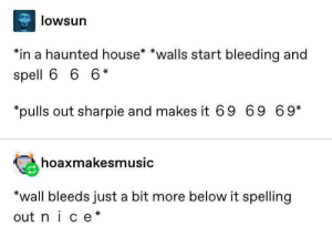 Big brain time: lowsun  *in a haunted house* *walls start bleeding and  spell 6 6 6*  pulls out sharpie and makes it 69 69 69*  hoaxmakesmusic  *wall bleeds just a bit more below it spelling  out nice* Big brain time