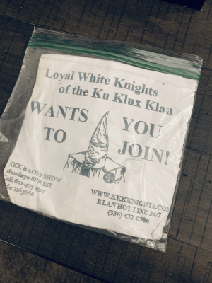 Weighted down with rocks, left on a doorstep in Illinois.: Loyal White Knights  of the Ku Klux Klan  YOU  WANTS  JOIN!  то  KKK RADIO SHOW  Mondays 8PM EST  Call 601-475-4927  de 216366#  www.KKKKNIGHTS.COM  KLAN HOT LINE 24/7  (336) 432-0386 Weighted down with rocks, left on a doorstep in Illinois.