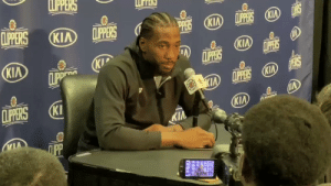 REPORTER: Can you take us through the dunk you had?   KAWHI: What do you want me to say? Patrick threw me the ball, I took 2 dribbles into the paint & tried to jump high & I dunked the basketball 😂😂  🎥 @jovanbuha    https://t.co/qm6DfFj7vU: LPPERS  CLIPERS  LPPERS KIA  CLIPPERS  KIA  (KIA  PERS  KIA  CLIPPERS  LPPERS  KIP  CLIPP  KIA  D ERS  KIA LPPERS KIA  CLIPERS  KI  KIA  KIA  ПрР REPORTER: Can you take us through the dunk you had?   KAWHI: What do you want me to say? Patrick threw me the ball, I took 2 dribbles into the paint & tried to jump high & I dunked the basketball 😂😂  🎥 @jovanbuha    https://t.co/qm6DfFj7vU