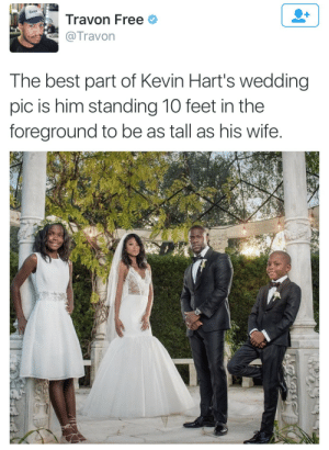 When you the shawty in the relationship: lravon Free  Travon  The best part of Kevin Hart's wedding  pic is him standing 10 feet in the  foreground to be as tall as his wife When you the shawty in the relationship