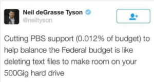 Neil deGrasse Tyson, Budget, and Drive: Ls  Neil deGrasse Tyson *  @neiltyson  Cutting PBS support (0.012% of budget) to  help balance the Federal budget is like  deleting text files to make room on your  500Gig hard drive He spits the truth.