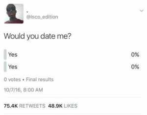 Dank, Memes, and Target: @lsco edition  Would you date me?  Yes  0%  Yes  0%  0 votes .Final results  10/7/16, 8:00 AM  75.4K RETWEETS 48.9K LIKES Self destruction by yoloman0805 MORE MEMES