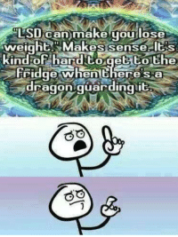 Memes, 🤖, and Lsd: LSD can make you lose  weight akes sense S  In  of ar  to get the  Fridge when there S a  dragon guarding it LSD can make you lose weight
