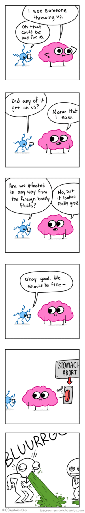 Bad, God, and Saw: lsee Someone  hrowing up.  oh that  could be  bad for us  Did any of  et on us?  None that  l saw  Are we irfected  in any way From Y No, buh  the foreian bodit it lookei  really gro  okay god. We  should be fine-  STOMAC  ABORT  @ICSandwichGuy  icecreamsandwichcomics.com Just in case [OC]