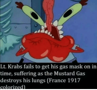 gas mask: Lt. Krabs fails to get his gas mask on in  time, suffering as the Mustard Gas  destroys his lungs (France 1917  colorized)