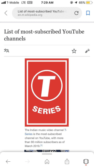It was an honor: lT-Mobile LTE PR7:29 AM  List of most-subscribed YouTube  en.m.wikipedia.org  List of most-subscribed YouTube  channels  文A  SERIES  The Indian music video channel T-  Series is the most-subscribed  channel on YouTube, with more  than 90 million subscribers as of  March 2019.1] It was an honor