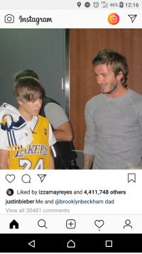 LTE  O  il 46% a 1 2:16  Instagram  Liked by izzamayreyes and 4,411,748 others  justinbieber Me and @brooklynbeckham dac  View all 30481 comments