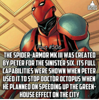 Memes, Spider, and House: LTIMATE  ER  AC  Fact #506  THE SPIDER-ARMOR MKIII WASCREATED  BY PETER FOR THE SINISTER SIX ITSFULL  CAPABILITIES WERE SHOWN WHEN PETER  USED IT TO STOPDOCTOROCTOPUSWHEN  HEPLANNEDONSPEEDING UP THE GREEN-  HOUSE EFFECT ON THE CITY (Via @wallcrawlerfacts) It raised his senses, acrobatics, and intelligence substantially😎 -- So who would win in a fight between the Hellbat Armor, Iron Destroy Armor, and the Spider-Armor MK lll?