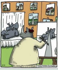 Happy, Scott, and Syndication: ltu  2017 Scott Hilburn/Distributed by Andrews McMeel Syndication  6/19 Nothin but happy little accidents