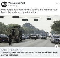 News, Politics, and Target: lu  Washington Post  4 mins  More people have been killed at schools this year than have  been killed while serving in the military.  WASHINGTONPOST COM  Analysis | 2018 has been deadlier for schoolchildren than  service members waitingtorespawn:  untexting:(source)  but no lets not have any form of gun control whatsoever