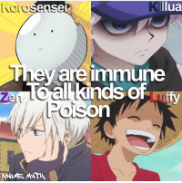 Anime, Facts, and Memes: lua  el  y are Immune  allkinds of  iffy QOTD: Favourite of these characters? | Follow @ruianime for Anime Facts | ⭐ . . Cr. @anime.myth