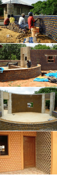 lubricates:  kemetic-dreams:   Nigerians Are Building Fireproof, Bulletproof, And Eco-Friendly Homes With Plastic Bottles And Mud By Editorial_Staff -Nov 23, 2015   AFRICANGLOBE  – These colorful homes are bulletproof, fireproof, and can withstand earthquakes. They also maintain a comfortable temperature, produce zero carbon emissions, and are powered by solar and methane gas from recycled waste.Plastic is everywhere. In fact, the environment is so riddled with it, researchers predict that 99% of all birds on this planet will have plastic in their gut by the year 2050. It is not enough to persuade people to use less, plastic needs to be repurposed and reused to be kept out of landfills. Despite informative infographics, emotional statistics, and recycling programs, many nations – especially the United States – continue to toss plastics into landfills without much care. This unfortunate reality has spurred many to get creative with the discarded byproducts of society. Some have used plastic waste to construct marvelous sculptures and raise awareness about the issue, while others are re-purposing it entirely to construct eco-friendly homes. As phys.org reports, the housing crisis has become so bad in Nigeria, nearly 16 million units are required to address the shortage. Because crafting traditional homes would be far too expensive for most, locals adopted the idea put forth by two NGOs and are now building plastic bottle homes. The solution not only cuts costs for building a house, it is beneficial for the environment. Founded by Kaduna-based NGO Development Association for Renewable Energies (DARE), with help from London-based NGO Africa Community Trust, the project is solving two problems at once by addressing the homelessness issue and helping the environment. Not only will there be less plastic in landfills, the house is designed to produce zero carbon emissions. In addition, it is completely powered by solar panels and methane gas from recycled human and animal waste. To create a two-bedroom bottle house, workers fill plastic bottles with sand and then hold them together using mud and cement. This forms a solid wall that is stronger than cinder blocks. That's not all: These colorful homes are bulletproof, fireproof and can withstand earthquakes. They can also hold a comfortable temperature year round. The buildings can be built to three stories, but no higher, due to the weight of the sand-filled bottles. And, of course, the magnificent diversity of recycled bottles give each house a unique and bright look. A two-bedroom house requires 14,000 bottles to complete. To put this into perspective, Nigeria throws away three million bottles every day. Clearly, there are plenty of bottles which can be repurposed to build every individual in their own abode. At least Nigeria isn't as wasteful as the United States, which discards 130 million bottles per day. That's 47 billion bottles every year – nearly 80% of which end up in the landfill.  If the United States were to save these bottles and re purpose them into houses like folks in Nigeria are doing, 9,257 houses could be built per day. That is nearly 3.4 million houses a year, reports Off Grid World. With 3.5 million people living on the streets in the U.S., is this the solution needed to remedy the homelessness crisis? https://www.youtube.com/watch?v=Hu0z6zyc2J8  pls spread this is important: lubricates:  kemetic-dreams:   Nigerians Are Building Fireproof, Bulletproof, And Eco-Friendly Homes With Plastic Bottles And Mud By Editorial_Staff -Nov 23, 2015   AFRICANGLOBE  – These colorful homes are bulletproof, fireproof, and can withstand earthquakes. They also maintain a comfortable temperature, produce zero carbon emissions, and are powered by solar and methane gas from recycled waste.Plastic is everywhere. In fact, the environment is so riddled with it, researchers predict that 99% of all birds on this planet will have plastic in their gut by the year 2050. It is not enough to persuade people to use less, plastic needs to be repurposed and reused to be kept out of landfills. Despite informative infographics, emotional statistics, and recycling programs, many nations – especially the United States – continue to toss plastics into landfills without much care. This unfortunate reality has spurred many to get creative with the discarded byproducts of society. Some have used plastic waste to construct marvelous sculptures and raise awareness about the issue, while others are re-purposing it entirely to construct eco-friendly homes. As phys.org reports, the housing crisis has become so bad in Nigeria, nearly 16 million units are required to address the shortage. Because crafting traditional homes would be far too expensive for most, locals adopted the idea put forth by two NGOs and are now building plastic bottle homes. The solution not only cuts costs for building a house, it is beneficial for the environment. Founded by Kaduna-based NGO Development Association for Renewable Energies (DARE), with help from London-based NGO Africa Community Trust, the project is solving two problems at once by addressing the homelessness issue and helping the environment. Not only will there be less plastic in landfills, the house is designed to produce zero carbon emissions. In addition, it is completely powered by solar panels and methane gas from recycled human and animal waste. To create a two-bedroom bottle house, workers fill plastic bottles with sand and then hold them together using mud and cement. This forms a solid wall that is stronger than cinder blocks. That's not all: These colorful homes are bulletproof, fireproof and can withstand earthquakes. They can also hold a comfortable temperature year round. The buildings can be built to three stories, but no higher, due to the weight of the sand-filled bottles. And, of course, the magnificent diversity of recycled bottles give each house a unique and bright look. A two-bedroom house requires 14,000 bottles to complete. To put this into perspective, Nigeria throws away three million bottles every day. Clearly, there are plenty of bottles which can be repurposed to build every individual in their own abode. At least Nigeria isn't as wasteful as the United States, which discards 130 million bottles per day. That's 47 billion bottles every year – nearly 80% of which end up in the landfill.  If the United States were to save these bottles and re purpose them into houses like folks in Nigeria are doing, 9,257 houses could be built per day. That is nearly 3.4 million houses a year, reports Off Grid World. With 3.5 million people living on the streets in the U.S., is this the solution needed to remedy the homelessness crisis? https://www.youtube.com/watch?v=Hu0z6zyc2J8  pls spread this is important