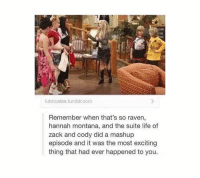 Tumblr, That's So Raven, and Zack And: lubricates tumblr.com  Remember when that's so raven,  hannah montana, and the suite life of  zack and cody did a mashup  episode and it was the most exciting  thing that had ever happened to you. FUCKEN BEST SHIT EVER