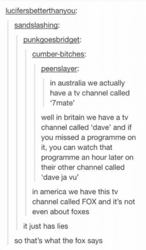 """TVomg-humor.tumblr.com: lucifersbetterthanyou:  sandslashing:  punkgoesbridget:  cumber-bitches:  peenslayer:  in australia we actually  have a tv channel called  """"7mate'  well in britain we have a tv  channel called 'dave' and if  you missed a programme on  it, you can watch that  programme an hour later on  their other channel called  'dave ja vu'  in america we have this tv  channel called FOX and it's not  even about foxes  it just has lies  so that's what the fox says TVomg-humor.tumblr.com"""
