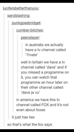 """What happened to tvomg-humor.tumblr.com: lucifersbetterthanyou:  sandslashing:  punkgoesbridget:  cumber-bitches:  peenslayer:  in australia we actually  have a tv channel called  """"7mate'  well in britain we have a tv  channel called 'dave' and if  you missed a programme on  it, you can watch that  programme an hour later on  their other channel called  'dave ja vu'  in america we have this tv  channel called FOX and it's not  even about foxes  it just has lies  so that's what the fox says What happened to tvomg-humor.tumblr.com"""