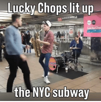 Dank, Lit, and Subway: Lucky Chops lit up  Lucky Cho  the NYC subway This is an awesome performance 😮😮  Credit Lucky Chops