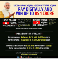 Memes, Credit Cards, and Mega: LUCKY GRAHAK YOJANA DIGI-EIOT VYAPAR YOJANA  PAY DIGITALLY AND  WIN UP TO RS 1 CRORE  LUCKY GRAHAK  Daily prizes: 15,000 winners  will be given Rs 1,000 each  DIGI-ECT VYAPAR  eekly prizes:  Rs 50,000,  (For 100 days)  CS YOJANA  Rs 5,000 and  YOJANA  Rs 2,500  Weekly prizes: Rs 1 lakh,  FOR MERCHANTS  each  FOR CONSUMERS  Rs 10,000 and Rs 5,000  each  *Transactions through Private Credit Cards and DIgital Wallets are excluded  MEGA DRAW 14 APRIL 2017  For Consumers: RS 1 crore, RS 50 lakh, RS 25 lakh each  For merchants Rs 50 lakh, Rs 25 lakh, RS 12 lakh each  Schemes to be launched on 25 Dec 2016 and will run for 100 days  Digital transactions from RS 50 to RS 3,000 will be eligible  (Applicable for digital transactions between 8-11-2016 and 13-4-2017)  Read full: www.blt.lv/LGYandDDVY2016  Of COO/BJP4 India GI BJP www.bjp.org