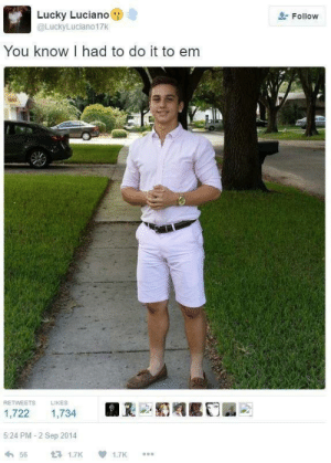 Been, Lucky Luciano, and Did: Lucky Luciano  Follow  @LuckyLuciano17K  You know I had to do it to em  RETWEETS  LIKES  1,722  1,734  5:24 PM - 2 Sep 2014  1.7K  56  1.7K It's been five years since he did it to em