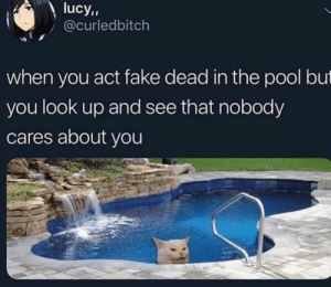 : lucy,,  @curledbitch  when you act fake dead in the pool but  you look up and see that nobody  cares about you