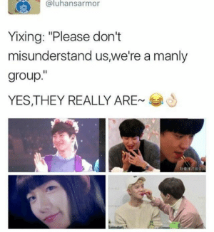 "EXO memes: @luhansarmor  Yixing: ""Please don't  misunderstand us,we're a manly  group.""  YES,THEY REALLY ARE-  好像沫 till es EXO memes"