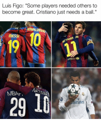 "Memes, Messi, and Ronaldinho: Luis Figo: ""Some players needed others to  become great. Cristiano just needs a ball.""  RONALDINHO  MESSI  19  EYMAR JR  unicer  29 10  AR  irafes 🗣 @luis__figo on Cristiano"