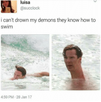 Memes, 🤖, and Drowning: luisa  @suc clock  i can't drown my demons they know how to  SWIm  4:59 PM 28 Jan 17 i know how to swim @mysadspamaccount