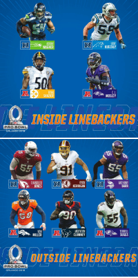 2018 #ProBowl Linebackers! https://t.co/5Qo3DvrK7C: LUKE  KUECHLY  WAGNER  50  RYAN  SHAZIER  eelers  MOSLEY  BACK  PRO BOWL   CARDINALS  RYAN  KERRIGAN  ANTHONY  BARR  JONES  JADEVEON  VON  MILLER  TERRELL  SUGGS  요OUTSIDE LINEBACKERS  PRO BOWL  ORLANDO 2018 2018 #ProBowl Linebackers! https://t.co/5Qo3DvrK7C