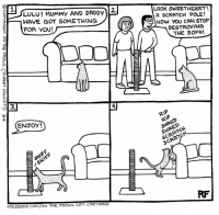 The New Scratch Post... #Cats #Ontheprowl #Rupertfawcett: LULU! MUMMy AND DADDY  2:  HAVE GOT SOMETHING  FOR YOU!  ENJOY!  FACEBOOK.COM/ON THE PROwL CAT CARTOONS  LOOK SWEETHEART  A SCRATCH POLE!  69 Now you CAN STOP  DESTROYING  THE SOFA!  EP The New Scratch Post... #Cats #Ontheprowl #Rupertfawcett