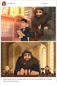 "Tumblr, Http, and Back: lulusketches  tumblr  lnlusketches. tbamlolr. com  AS  lulusketches. bumlolr. com  Hagrid going back to Hogwarts after the war, and Harry taking him to Diagon  Alley to return the favor) <p>Harry repays Hagrid via /r/wholesomememes <a href=""http://ift.tt/2gmLDUP"">http://ift.tt/2gmLDUP</a></p>"